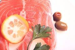 Fresh salmon olives lemon. Food Stock Photos