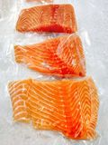 Fresh salmon in packing sell in supermarket Stock Photos