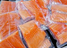 Fresh salmon in packing sell in supermarket Royalty Free Stock Photo