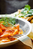 Fresh salmon penne pasta Stock Photography