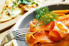 Fresh salmon penne pasta Royalty Free Stock Image