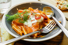 Fresh salmon penne pasta Stock Images
