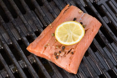 Fresh salmon with peppercorns and a sliced lemon fruit on a gril Stock Image