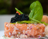 Fresh salmon pie with caviar Royalty Free Stock Photos