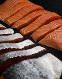 Fresh salmon pieces on dark black background royalty free stock image