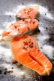 Fresh salmon raw for roast or grilled Royalty Free Stock Photo