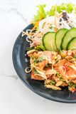 fresh salmon raw spicy salad Stock Images