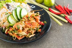 fresh salmon raw spicy salad Stock Photo