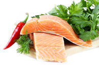 Fresh salmon (red fish) fillet with herbs, spices and vegetables Royalty Free Stock Photos