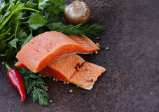 Fresh salmon (red fish) fillet with herbs, spices and vegetables. Healthy food Royalty Free Stock Image