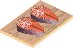 Fresh Salmon Red Fish Slices Stock Photo