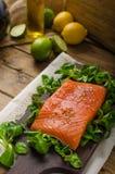 Fresh salmon with salad Stock Photo