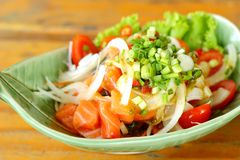 Fresh salmon salad with spices - Japanese food. Stock Photography