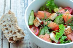 Fresh salmon salad Stock Photo