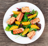 Fresh Salmon Salad with vegetables and orange royalty free stock images