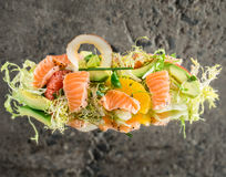 Fresh salmon salad with vegetables Royalty Free Stock Photos