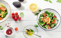 Fresh Salmon salad on a white wooden table. Healthy diet eating. Stock Photography
