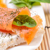 Fresh salmon sandwich Stock Photos