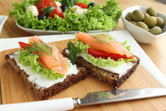 Fresh salmon sandwich Stock Photos
