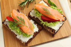 Fresh salmon sandwiches Stock Images