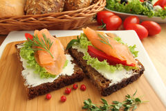 Fresh salmon sandwiches Royalty Free Stock Image