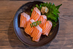 Fresh salmon sashimi in a bowl Royalty Free Stock Photos