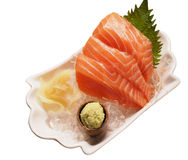 Fresh salmon sashimi isolated stock photo