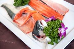 Fresh salmon sashimi, Salmon dish Royalty Free Stock Photo