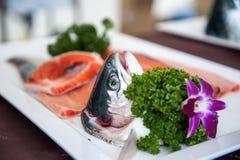 Fresh salmon sashimi, Salmon dish Royalty Free Stock Image
