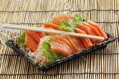 Fresh Salmon sashimi set in the box Royalty Free Stock Images
