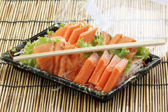 Fresh Salmon sashimi set in the box Royalty Free Stock Photography