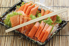 Fresh Salmon sashimi set in the box Stock Images