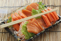 Fresh Salmon sashimi set in the box Stock Photography