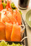Fresh salmon in sashimi set Stock Image