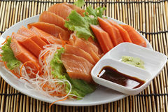 Fresh Salmon sashimi set on the plate Stock Image
