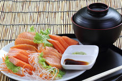 Fresh Salmon sashimi set on the plate Stock Images