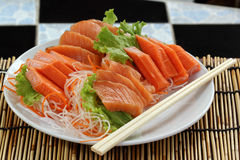 Fresh Salmon sashimi set Stock Photos