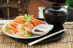 Fresh Salmon sashimi set on the plate Stock Photos