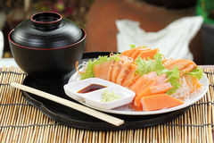 Fresh Salmon sashimi set on the plate Royalty Free Stock Image