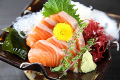 Fresh salmon sashimi stock image
