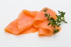 Fresh salmon slice and spice on the white background. Fresh salmon slice and spice on the white background Royalty Free Stock Image