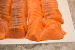 Fresh Salmon Slice on white plate. A Fresh Salmon Slice on white plate Stock Images