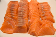 Fresh Salmon Slice on white plate. Stock Photos