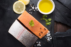 Fresh salmon with spices, cooking concept Royalty Free Stock Image