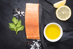 Fresh salmon with spices, cooking concept Stock Photography