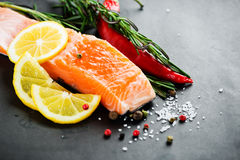 Fresh salmon with spices. On dark background Royalty Free Stock Images