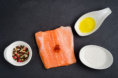 Fresh salmon and spices Stock Photos