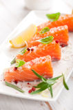 Fresh salmon  with spices and herbs Royalty Free Stock Images