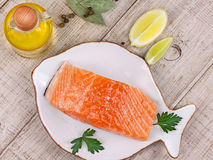 Fresh salmon and spices Stock Photo