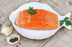 Fresh salmon and spices Royalty Free Stock Images